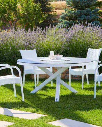 House round table top in garden